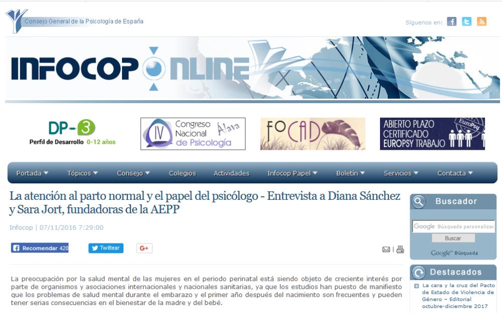 Entrevista a la revista del Consejo General de la Psicología de España